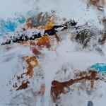 Paysage bleu et ocre 3 monot papier jap 30x30 03 2019