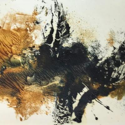 Paysage ocre et noir 3 monot papier jap 25 50 08 2019