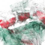 Paysage rouge et vert 1 monot sur papier chinois 20x20 03 2019
