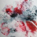Paysage rouge et vert 2 monot sur papier chinois 30x30 03 2019